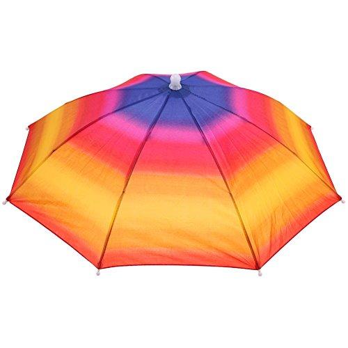 Broadroot Kopf-Regenschirm, Anti-Regen, zum Angeln, als Sonnenschirm, Hut für Erwachsene Einheitsgröße bunt