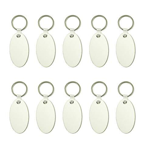 NEL Lot de 10 porte-clés vierges en bois de sublimation avec panneau de fibres à densité moyenne Blanc