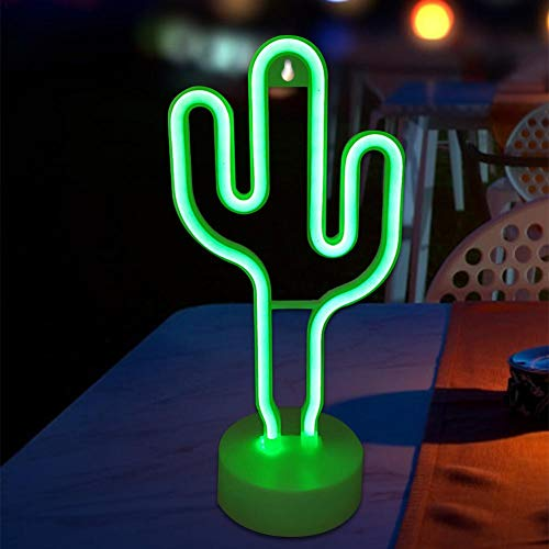 Lámpara LED con forma de cactus de neón, luz decorativa, neón, decoración de pared, para regalo de Navidad, estudio, fiesta de niños, dormitorio, salón, decoración de fiesta de boda (batería/USB)