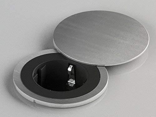 Küchen-Steckdose Einbausteckdose PIX für Arbeitsplatten, Büro, Lounge (Edelstahloptik)