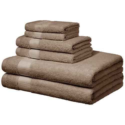 AmazonBasics Everyday Bath Towels, 6 Piece Set, Taupe, 100% Soft Cotton, Durable