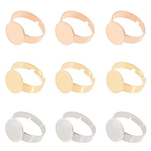 UNICRAFTALE 12pcs 3 Colores Bandeja de 12 mm Anillos de Dedo Ajustables Anillos de Dedo de Acero Inoxidable Componentes Base de Anillo de Almohadilla Hallazgos de Anillos Redondos Planos Kits