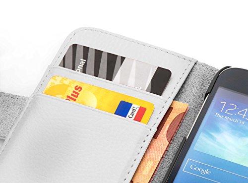 Cadorabo Hülle für Huawei Ascend Y330 - Hülle in Magnesium WEIß – Handyhülle mit Kartenfach aus struktriertem Kunstleder - Case Cover Schutzhülle Etui Tasche Book Klapp Style - 2