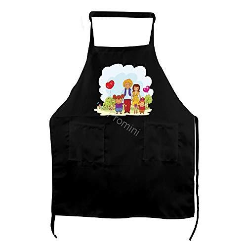 Promini 100% polyester volwassen pron, Cartoon delen kind voor familie dag keuken pron, koken bakken schorten met twee zakken, Chef schort voor mannen en vrouwen, zwarte schorten