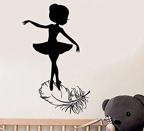 Muursticker 42 x 67 cm Little Girl Ballerina silhouet kan Pvc behang Bewegen Home Decoration Moderne waterdichte zelfklevende kunst Creative Diy