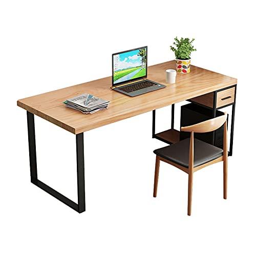 Escritorio Moderno estilo minimalista Pine Desk Home Office Desktop ORDENADOR PERSONAL Escritorio para computadora portátil con cajones y gabinete principal Estación de escritorio estable Mesa de Comp