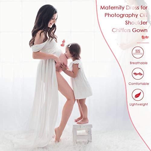 FEOYA - Vestido para embarazadas de maternidad fotográfica, vestido sexy largo, falda de muselina de seda, abertura frontal para recuerdos fotográficos Estilo 1 blanco L