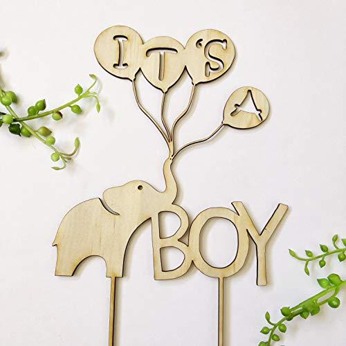 Zijn Een Jongen Baby Douche Olifant Ballon Rustieke Acryl Goud Hout Baby Strooi Oh Baby Cake Topper Bruids Douche Gift Aangepaste Cake Toppers Bruiloft Decoraties Aanwezig voor de Bruid