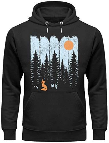 HOLZBRÜDER® Fuchs im Wald Premium Hoody für die Arbeit mit der Kettensäge im Wald als Pulli T-Shirt und Kaputzenpullover (S)