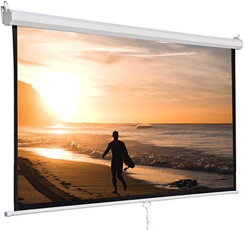 SUPER DEAL 120'' Projector Screen Projection Screen Manual Pull Down HD Screen 1:1 Format for Home Cinema Theater Presentation Education Outdoor Indoor Public Display
