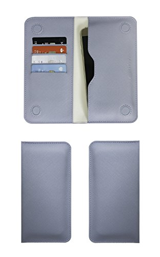 Emartbuy Blu Violet Tessuto qualità PU Pelle Portafoglio Sottile Magnetico Custodia Case Cover Sleeve (Size LM4) Compatibile con Smartphone Elencati sotto