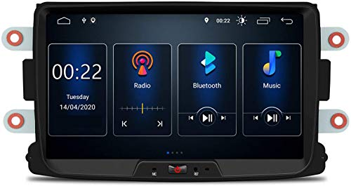 MIVPD Compatible para Renault Dacia Logan Dustner Android 10.0 Sat Nav FM Radio Doble DIN Auto Audio Player Coche Estéreo 8 Pulgadas Pantalla Táctil LCD Monitor GPS Navegación,4 Core WiFi 1+16GB