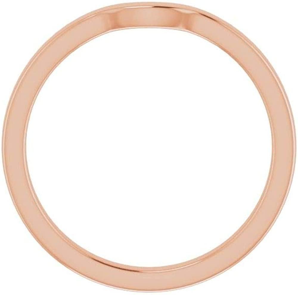 Solid 10K Rose Gold Curved Notched Wedding Band for 7 x 7mm Heart Ring Guard Enhancer - Size 7