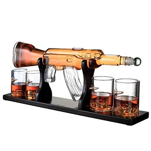 DEDECP Juego de decantador Grande de Pistola de 800 ml, Vasos de Bala, Elegante decantador de Whisky con Rifle con 4 Vasos de Whisky de Bala y Base de Madera de mohogany