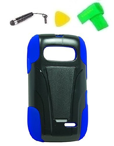 Heavy Duty Hybrid Phone Cover Case Cell Phone Accessory + Extreme Band + Stylus Pen + Yellow Pry Tool for ZTE Z432 (T-Stand Black Blue)