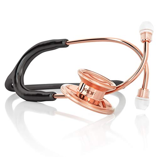 MDF Rose Gold MD One Stainless Steel Premium Dual Head Stethoscope - Rose Gold Edition - Black...