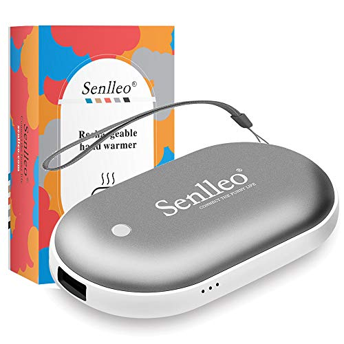 Senlleo Rechargeable Hand Warmer, 5200mAh PowerBank : Larger Capacity and Double-Sided Pocket Warmer Compatible with iPad iPhone Samsung All Android Smartphone, Winter Gift for Men Women(Gray)