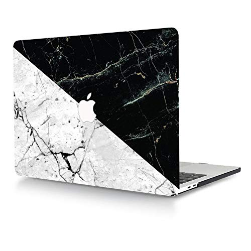 ACJYX Compatible with MacBook Pro 13 inch Case Model A1278 with CD-ROM Old Version Release 2012 2011 2010 2009 2008, Print Pattern Coated Plastic Hard Shell Case Protective Cover, Black White Marble