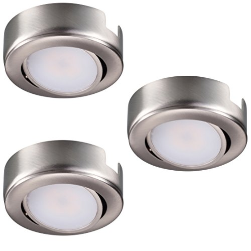 GetInLight Swivel LED Puck Light Kit with ETL List, Recessed or Surface Mount Design, Bright White 4000K, Brushed Nickel Finish, (Pack of 3), IN-0107-3-SN-40