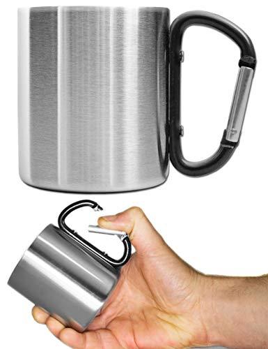 Outdoor Saxx® - Camping-Tasse, Outdoor-Becher, Metall-Becher, mit geschraubtem Karabiner-Griff, Edelstahl, Wandern, Trekking, Arbeit, 250 ml, Silber/schwarz