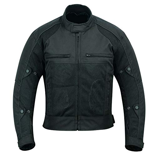 Summer Motorcycle Motorbike Cordura Mesh Breathable Removable Lining Men's Biker Jacket With Armours - All Black (7XL)