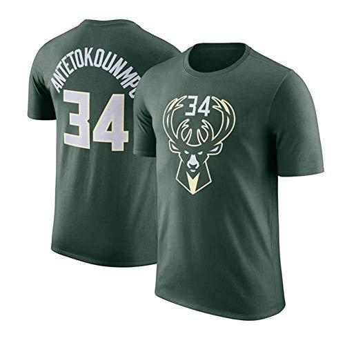 LLSDLS Camiseta de Hombre de la NBA Milwaukee Bucks Giannis Antetokounmpo # 34 Baloncesto Manga Corta Camiseta de Deporte Suelta for Adolescentes Ropa de Entrenamiento Camiseta