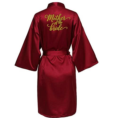 KASLXA Sexy Bata Burdeos Novia Kimono Bata de satén Mujer Albornoz Boda Bata Hermana Madre de la Novia Novio Batas de Dama de Honor-a66-XL