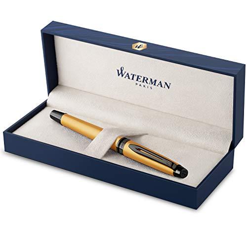 Penna roller Waterman Expert | Laccatura dorata metallizzata con puntale in rutenio | Punta sottile | Inchiostro nero | Confezione regalo