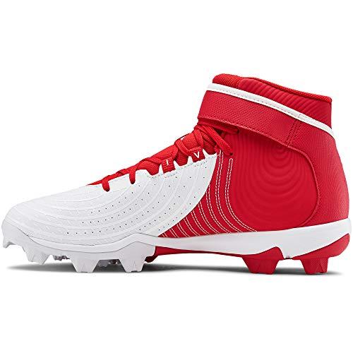 Under Armour Men's Harper 4 Mid RM Baseball Shoe, Red (600)/White, 7