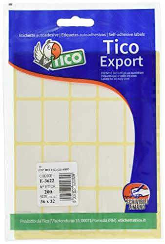 Tico 947904 Etichette adesive, Bianco, Confezione da 10 fogli con 20 etichette - Totale 200 pezzi