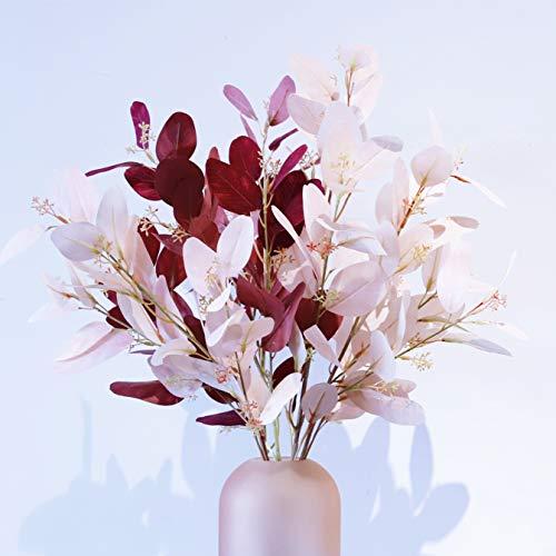 EasyLife 70 cm Eukalyptus-Kunstblume, 5 Stück pro Set, 2 Farben, Dekoration für Büro, Café, Hochzeitsdekoration und Wohnkultur