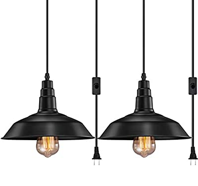 FadimiKoo Plug in Pendant Light E26 E27 Industrial Hanging Pendant Lights Vintage Hanging Light Fixture with 13.12ft Cord On/Off Switch 2 Pack