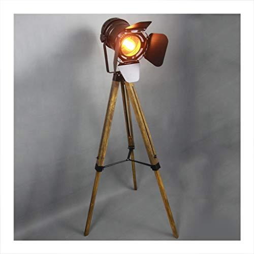 NIUZIMU Vloerlamp, Retro Industriële Stijl Woonkamer Studie Slaapkamer Rechtopstaande lamp, Smeedijzer Massief Hout Vloerlamp Binnenverlichting