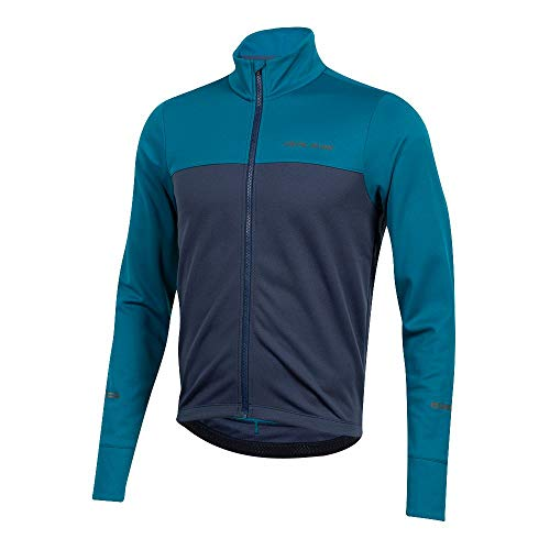 PEARL IZUMI Men's Quest Thermal Cycling Jersey, Teal/Navy, Small