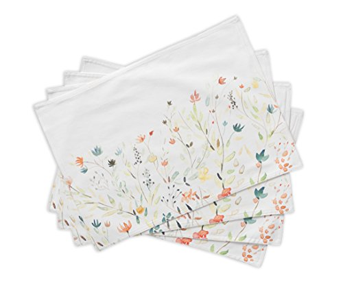 Maison d' Hermine Colmar 100% Cotton Set of 4 Placemats for Dining Table | Kitchen | Wedding | Everyday Use | Spring/Summer | Dinner Parties (13 Inch by 19 Inch)