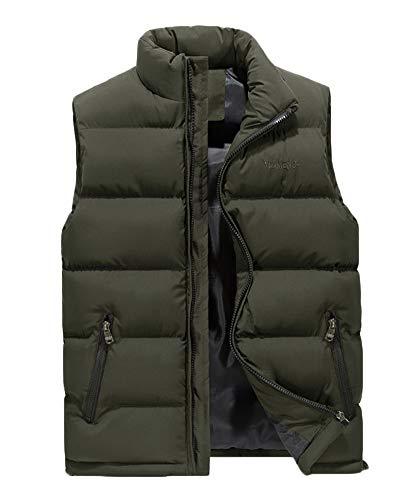Hombre Invierno Calor Chalecos Sin Mangas De Plumas Chaquetas Acolchado Cazadoras Verde XL