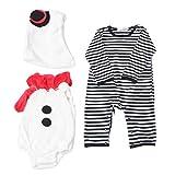 SOIMISS 3 Unids/Set Disfraz de Muñeco de Nieve de Invierno Mono de Invierno de Olaf Mameluco Infantil Cosplay Vestido de Fiesta con Sombrero para Niño Pequeño Niño Niña Tamaño 80 (6-9