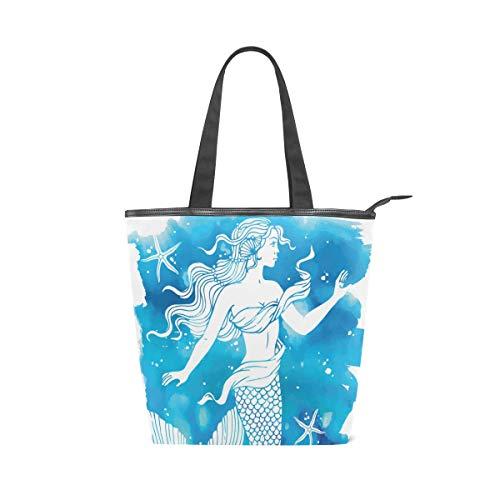 Jeansame Canvas-Handtasche für Damen, Shopper, Tragegriff, Schultertasche, mit Reißverschluss, mediterranes Meer, Ozean, Meerjungfrau