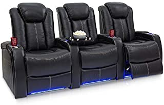 Seatcraft Delta Home Theater Seating Leather Power Recline, Powered Headrests, and Built-in SoundShaker (Black, Row of 3)