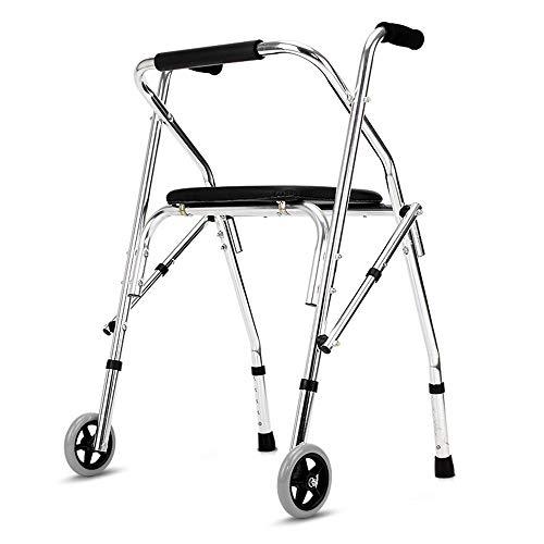 CXRen Faltbare Rahmen Aluminium-Legierung Einstellbare Höhe Rollator, Klapp Four-Legged Trolley