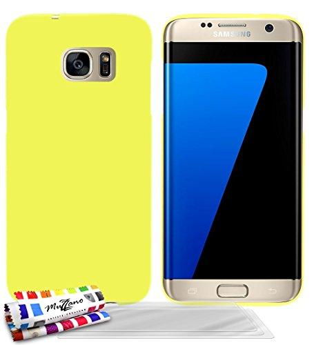 MUZZANO Original Perle Custodia semirigida con 3 pellicole Proteggi Schermo Ultra Trasparenti per Samsung Galaxy, S7/G935F Edge, Colore: Giallo