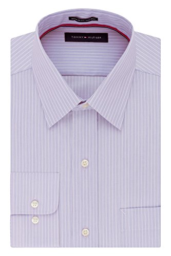 "Tommy Hilfiger Men's Dress Shirt Regular Fit Non Iron Banker Stripe, Wild Orchid, 15"" Neck 32""-33"" Sleeve (Medium)"