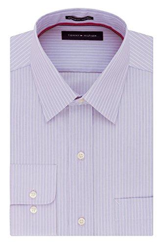Tommy Hilfiger Men's Dress Shirt Regular Fit Non Iron Banker Stripe, Wild Orchid, 15' Neck 32'-33' Sleeve (Medium)