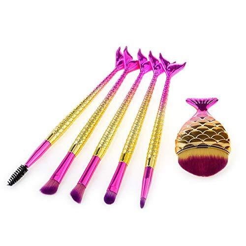 MEIYY Pinceau de maquillage Makeup 6Pcs Fishtail Brush Set Foundation Eyeshadow Lip Blush Eyeliner Brushes Beauty