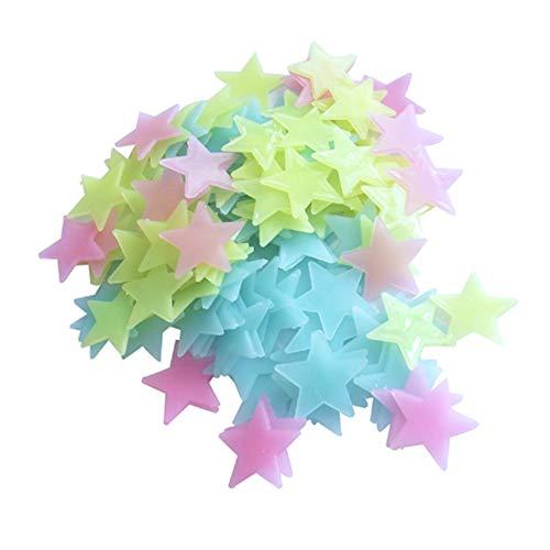 KKmoon Glow In The Dark 3D estrelas adesivos de parede 100pcs luminoso fluorescente adesivo de parede de plástico para crianças quarto de bebê teto do quarto decoração da casa