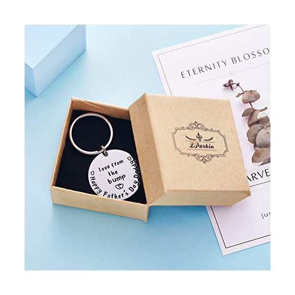 LParkin First Love from The Bump Happy Daddy to Be Gift Keychain Keyring Stainless Steel Father to Be Gifts