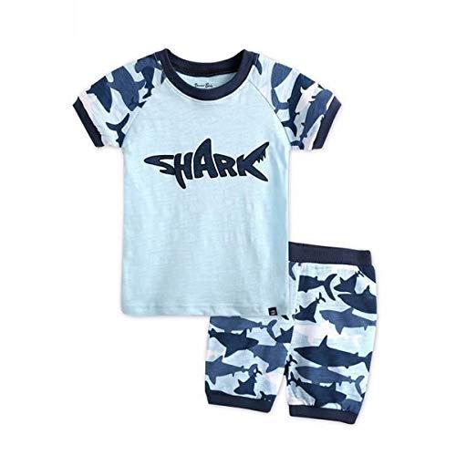 Ropa Conjuntos para Bebé Recién Nacido Niño 2 Piezas 1 Camiseta Mangas Cortas Tiburón + 1 Pantalones Cortos Azul Verano Playa y Regalo para Bebé Recién Nacido (Azul, 3-4 Años)