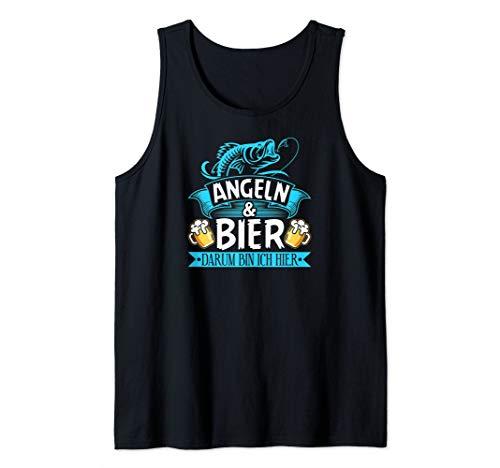 Herren Angeln Bier Darum Bin Ich Hier Lustiges Fischen Angler Motiv Tank Top