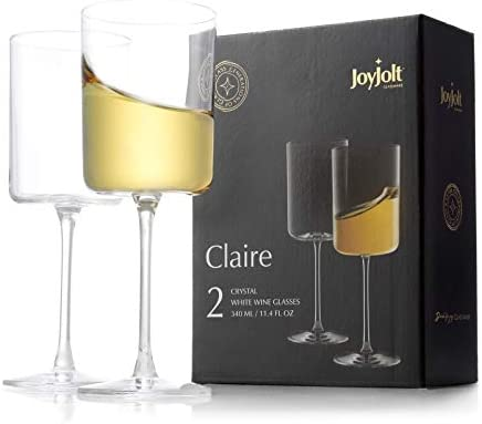 JoyJolt White Wine Glasses Claire Collection 11 4 Ounce Wine Glasses Set of 2 Deluxe Crystal product image