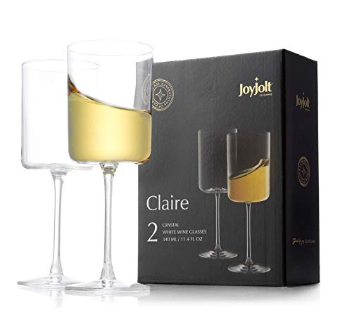 JoyJolt White Wine Glasses – Claire Collection 11.4 Ounce Wine Glasses Set of 2 – Deluxe Crystal Glasses with Ultra-Elegant Design – Ideal for Home Bar, Kitchen, Restaurants – Made in Europe